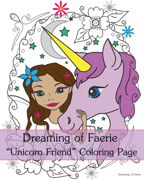 Items similar to Fairy and Unicorn Coloring Page! Fun ...