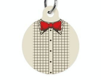 Pet ID Name Tag DR WHO Bowtie Print Personalised Custom Dog Cat Name Tag