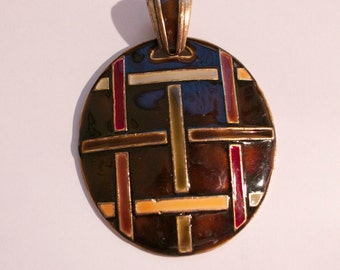 Round brown enamel pendant with modern check design for jewelry makers