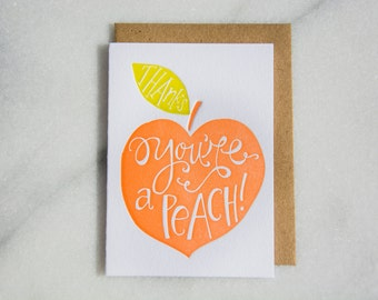 Thanks you're a peach! Letterpressed mini greeting card