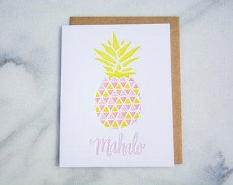 Mahalo pineapple letterpressed greeting card, hawaiian thank you