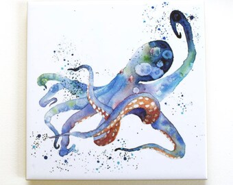 Octopus Tile Trivet Original Watercolor Sea Life