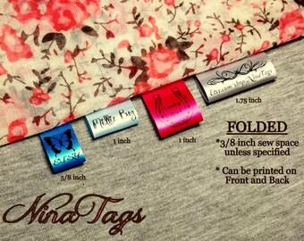 30 Custom Satin Clothing Labels - FOLDED - Fabric Garment Tags - NinaTags