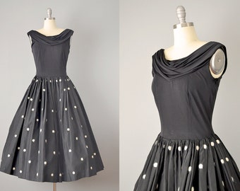 50s Dress // 1950's Black Silk Taffeta Cowl Neck Dress w/ Angora Polkadot Appliqué // S