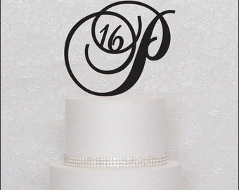 ON SALE Sweet Sixteen Birthday Girl Cake Topper in Black, Gold, or Silver 16