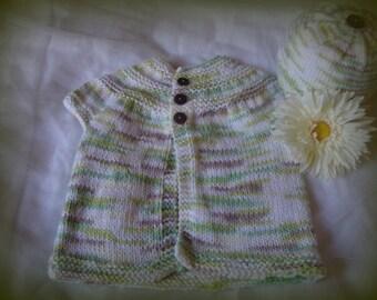 Cream Infant Layette, Baby Hat and Baby Sweater, Handknit, Baby Shower Gift, Baby Girl Gift, Newborn