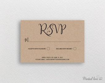 Wedding RSVP Printable Template, Editable Response Card, DIY RSVP, Instant Download Wedding Reply Card, Kraft