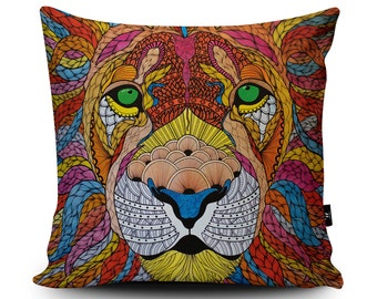 "Lion Cushion, Lion Pillow, Animal Cushion, Animal Pillow, Lions Mane Cushion Cover 45cm/60cm, 18""/23.6"", Faux Suede Cushion by Paul Robbins"