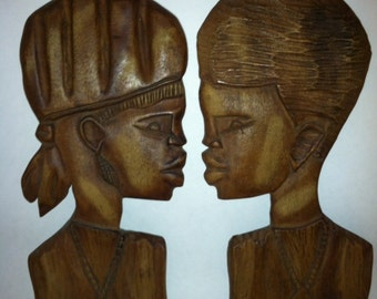 Set of 2 Carved African Head Bust Wall Hangings Africa Tribal Art