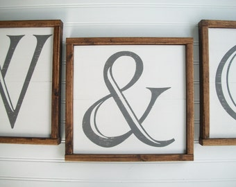 Ampersand Sign .  Ampersand . 12 1/2 x 12 1/2 .  Alphabet Sign . Family Sign . Wedding Gift . Gallery Wall . And Sign