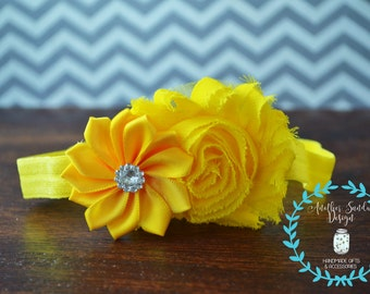 Yellow headband, newborn headband, flower headband