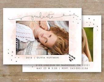 Senior Graduation Template - Watercolor Senior Card Templates - Photoshop Template for Photographers - 5x7 card template