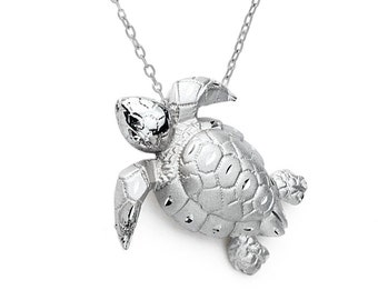 "Sterling Silver Turtle Pendant with 18""  chain, Turtle Pendant, Under the Sea, Ocean, Turtle, Tortoise, Sea Jewelry, Nautical Jewelry"