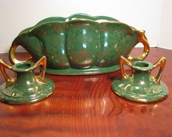 Pearl China Company 22Kt. Gold and Green Candle Holders and Flower Vase