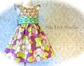 Girls Easter Dress, Toddlers Easter Dress, Purple and Lime Floral, Peasant Dress, Special Occasion, Sunday, Sizes 2T - 8 by 8th Day Studio