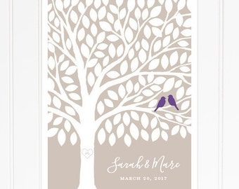 Guest Book Tree, Wedding Guest Book Poster , 115 Leaf Guest Signatures