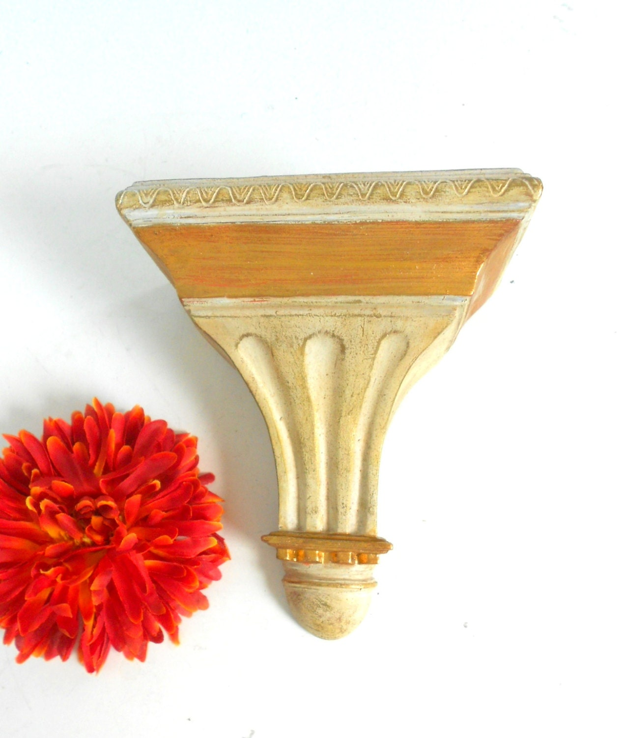 White and Gold Shelf Small Wall Sconce Wall Gold Sconce
