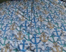 small fleece blanket in nautical theme, anchor print, childrens bedding, fleece throw, lap throw, wheelchair blanket