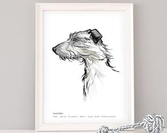 Lurcher Wall Art, Personalised Lurcher print, gift for Lurcher lover, dog art, gift for dog lover, Lurcher gift, dog lover gift, Lurcher art