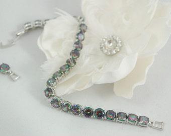 Mystic Topaz Bracelet, Sterling Silver Round Mystic Topaz Tennis Link Bracelet Mystic Topaz Jewelry Mystic Fire Topaz Alaskan Ice Bracelet