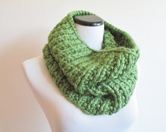 Green Knit Cowl - Vegan Friendly Scarf - Acrylic Handknit Neckwarmer - Chunky Knitted Grass Green Cowl
