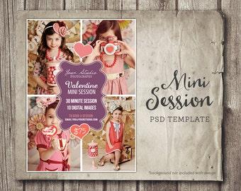 Valentine Mini Session - Valentine Photography Marketing - Photo Session Ad Mini Session - Marketing Board - INSTANT DOWNLOAD PSD