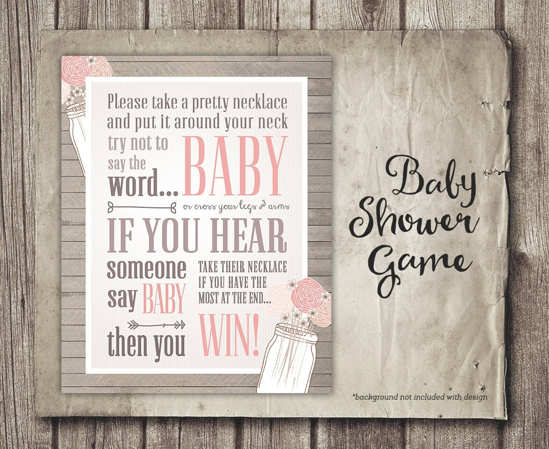 don u0026 39 t say baby shower game sign girl shabby pink flowers
