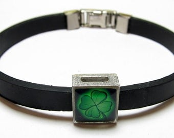 Lucky Four Leaf Clover Link With Choice Of Colored Band Charm Bracelet
