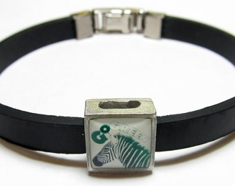 Go Green Zebra Support Link With Choice Of Colored Band Charm Bracelet