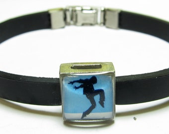 Male Dancer Blue Link With Choice Of Colored Band Charm Bracelet