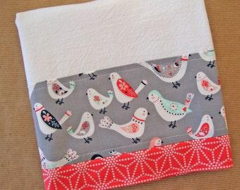 Flour Sack Towel - Folk Art Birds Kitchen Towel - Lint Free Tea Towels - Fabric Trimmed Towel - Embellished Towel - Grey Coral Dish Towel