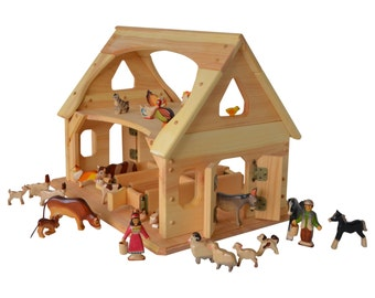 Wooden toy barn-Wooden toy stable-Montessori Barn-Waldorf toy Barn-Wooden toys- natural children's toy-Ultimate Toy Barn-with Animals