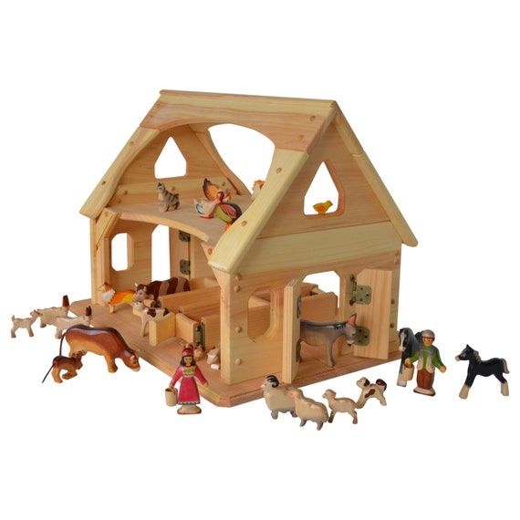 Toys Are Us Wooden Toys : Wooden toy barn stable montessori waldorf