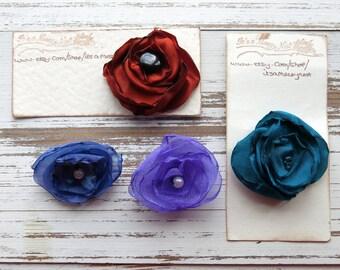 satin brooch - fabric brooch - fabric pin - flower brooch - clothing accessory - flower pin - jewellery - uk seller