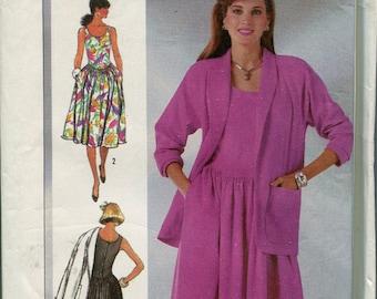 1980s  Dress Pattern Vintage Simplicity 7505 Sewing Pattern Summer Dress Patterns Sundress Size 6-10 uncut