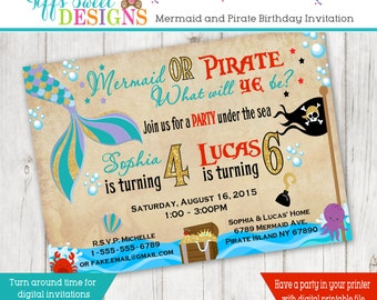 Mermaid And Pirate Birthday Brother and Sister Birthday Party - Sibling Invitation - Mermaid and Pirate Twins -