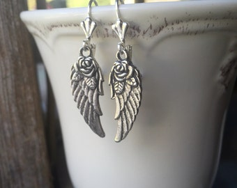 Pewter Wings With A Flower Earrings With Lever Backs