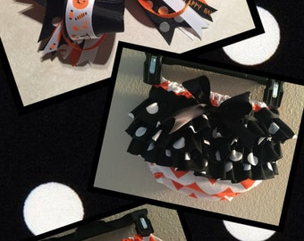 Halloween Ruffle Diaper Cover with Matching Halloween Bow