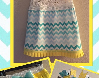 Beautiful Crocheted Top Chevron Dress with Ruffle Diaper Cover and Matching Bow