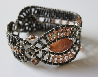 BROWN AGATE BRACELET * handmade beaded bracelet * one of a kind, perfect for gift!