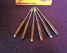 Fondue Forks MCM Wood Teak Aluminum Color Coded Tips Vintage Northland w/ Orig Box