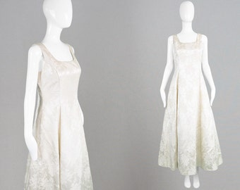 Vintage 80s Evening Gown Ivory Wedding Dress SCOTT MCCLINTOCK Ivory Satin Dress Floral Brocade Long Evening Dress Metallic Lame Sleeveless
