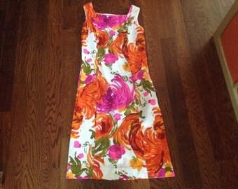 Mid Century Modern Colorful Sleeveless Summer Midi Dress by Alice Polynesian Fashions Medium to Large Cotton Blend
