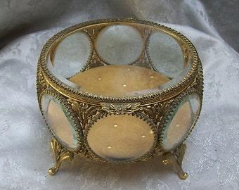 Large MATSON JEWELRY / Casket / Trinket / Vanity BOX with Beveled Glass and Ormolu