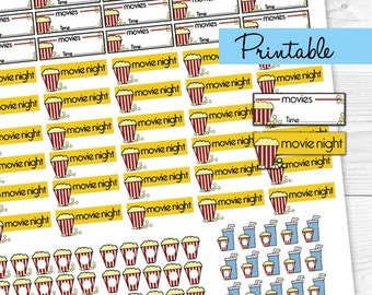 Movie printable planner stickers / popcorn  / movie night