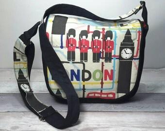 London cross-body, shoulder, messenger handbag, bag, purse with pockets and adjustable strap