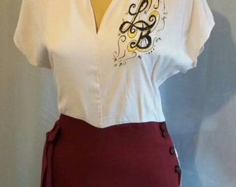 1940s style LB monogram two tone dress handpainted