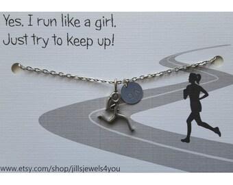 Runner Necklace - Runner Girl Necklace - Run like a Girl,  5K , 10K, Half Marathon, Marathon Necklace, Running Necklace Race Finisher Gift