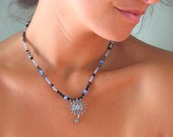 Topaz, marcasite, beaded pendant necklace