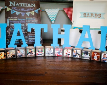 Wooden Baby Blocks 12 MONTH SET PHOTO Blocks- First Birthday Display